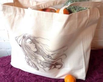Cotton Tote Bag Canvas Tote Art Tote Art Bag Koi Carp Art Fish Art Fish Bag Beauty Bag Modernist Art Tote Art Woman Womens Bag