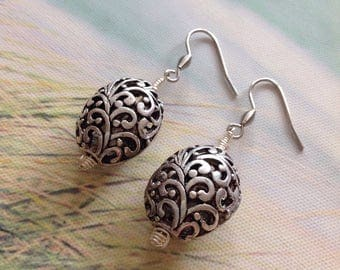 Floral Earrings Birdcage Earrings Round Earrings Hollow Earrings Cage Earrings Flower Earrings Round Flower Dangle Earrings Handmade