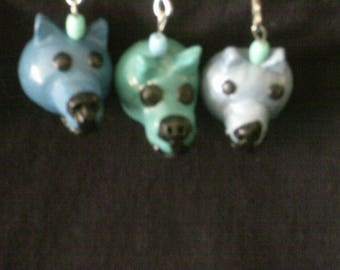 Made by a kid, for a kid-- zipper pull charm - dog heads