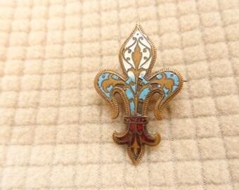 Pre WWII Red White Blue Fleur De Lis Pin brooch vintage jewelry