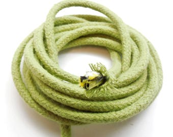 1 meter of braided rope in sage green cotton, 6 mm