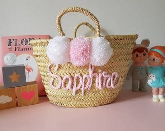 Small Basket Bag with Lettering & Poms