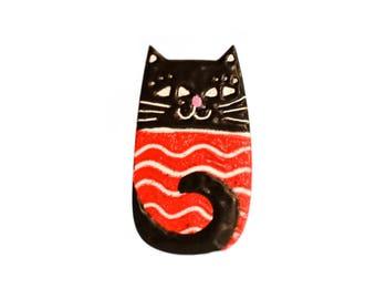 Enamel Cat Brooch, Enamel Pin, Cat Jewelry, Animal Jewelry, Animal Brooch, Animal Pin, Cat Lover Gift, Cat Pin, Cat Badge, Enamel Badge