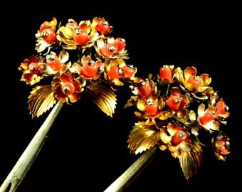 Antique complicated coral kanzashi - Japanese Antique complicated kanzashi - Antique coral kanzashi vintage - Antique kanzashi coral