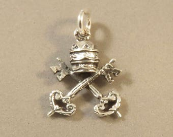 VATICAN CITY Coat of Arms .925 Sterling Silver Charm Rome Italy Pope Holy See Symbol Keys Cardinal Hat St Peters Basilica Pendant New fa61