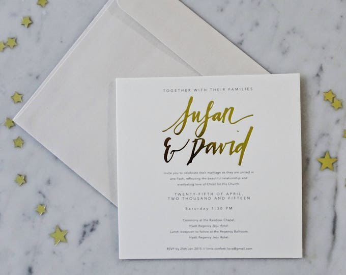 Featured listing image: SAMPLE Wedding Invitation / Gold Foil / Hand Lettering / Calligraphy / Modern / Luxe / Suite / Envelope / Stationery / Party / Event