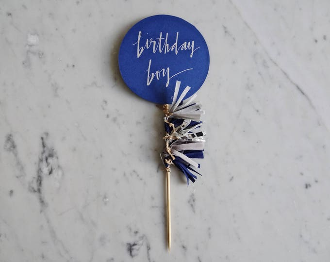 Featured listing image: Cake Topper / Silver Modern Calligraphy / Custom Hand Lettered / Navy Grey Silver Blue Boy / Mini Tassels Balloon / Birthday Wedding/