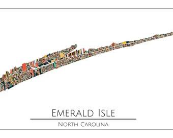 Emerald Isle, NC Beach, Emerald Isle NC, Map Art Print, Beach House, Gift Idea, Home Decor, Wall Art, Abstract Art, Emerald Isle Map