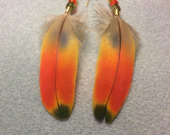 Red, yellow,and green scarlet macaw feather earrings adorned with red, yellow, and green Czech glass beads.
