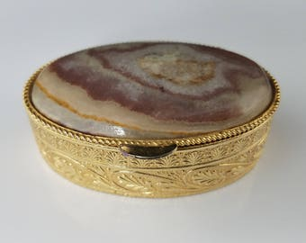 Marble Stone Inlay Oval Pill Box, Vintage
