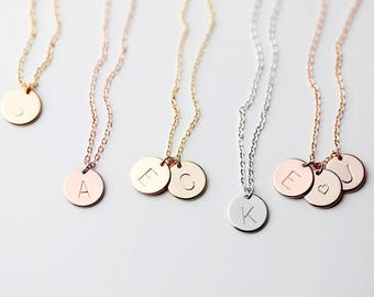 Initial Necklace - Bridesmaid gift - bridesmaid jewelry Friendship necklace Family Tree Letter Necklace - CN