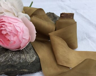 OLD GOLD hand dyed silk habotai ribbon / plant dyed / eco dyed / wedding ribbon / styling ribbon / photo prop / pure silk ribbon