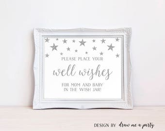 Winter Baby Shower, Wishes For Baby, Silver Glitter Baby Shower Wishes, Wishes For Baby Sign, Wishes For Mommy, Printable, Instant Download