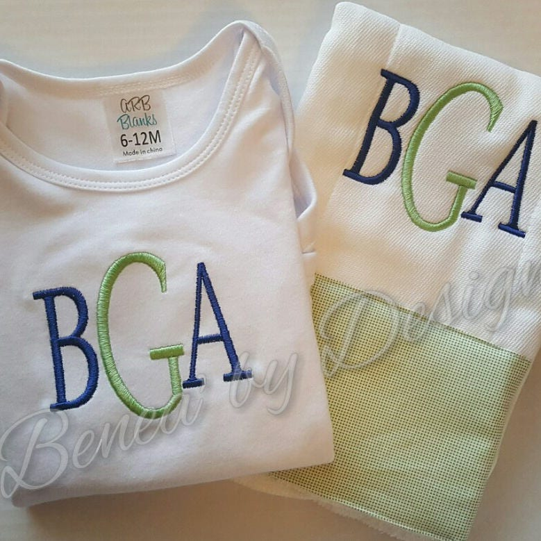Onesie and burp cloth set monogrammed and personalized baby shower onesie and burp cloth set monogrammed and personalized baby shower gift baby burp cloths baby onesie green blue negle Gallery