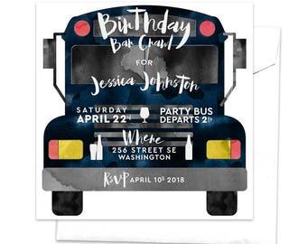 Party Bus Invitation, Birthday Bar Crawl, Pub Crawl, Birthday Drinks Invitation, Bachelor Party Bus, Drinking Alcohol, Girls Night Out