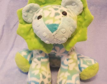 Stuffed Lion/ softie/ plushie, made from a Funky Friends Factory pattern