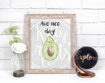 Funny Avocado Pun Digital Print, Watercolor Wall Art, Typography Art Print, Home Decor, Funny Avocado Gift, Printable Art, Avocado Art Print