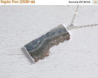 SUMMER SALE Gift For Her, Amethyst Slice Necklace, Silver Amethyst Necklace, Druzy Necklace, Crystal Pendant, Long Layer Necklace, Boho Neck