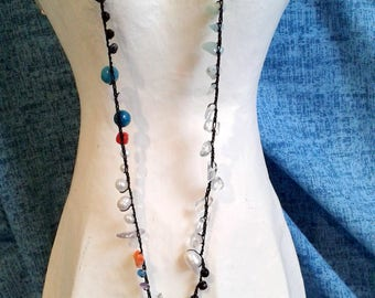 Long necklace, adjustable, boho chic, crochet, crystals, pearls Cod. L27