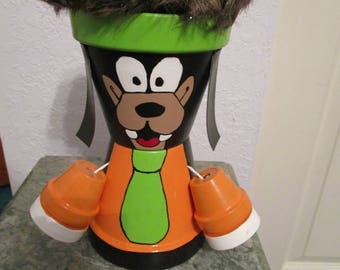 "9z' Clay Pot ""Goofy"" with Hair"