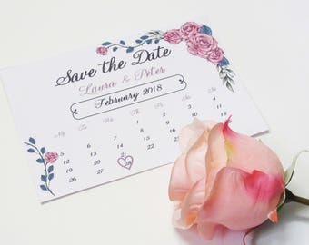 Counting the days Save the Date calendar wedding invitation