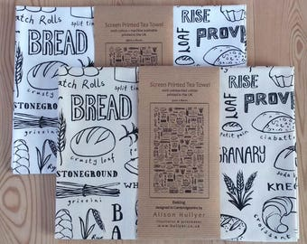 Baking - screen-printed tea towel (cream or white)