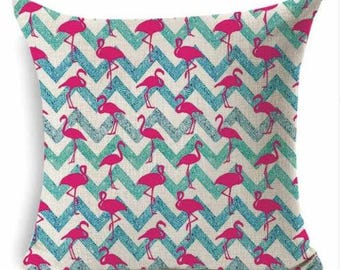 Pink Flamingo with Chevron Pillow Cover