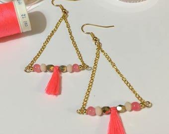 Gold fashion chain triangle earrings