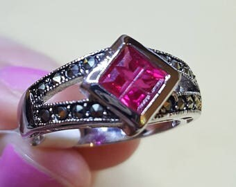 Ruby Ring Sterling Silver Size 7
