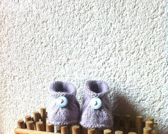 3 months grey baby booties