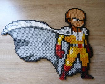Sprite of Saitama from One Punch Man in Perler beads