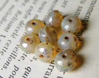 10 Czech glass beads, 7X5mm, champagne opalisé R705 picasso finish