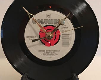 "Recycled BRUCE SPRINGSTEEN 7"" Record • Song: Jersey Girl • Record Clock"