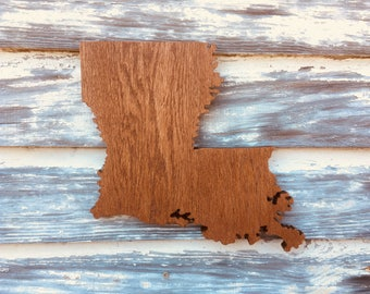 Wood Louisiana Cutout Sign -  LA State Wooden Cutout Wall Art Hanging Sign State Sign