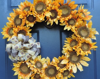 Sunflower Grapevine Wreath Summer Fall