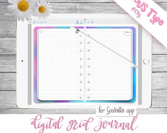 Digital Grid Journal/Planner With Hyperlinks  Watercolour