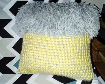 Cushion deco sheep crochet and fabric