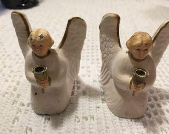 Antique metal angel candleholders - set of 2 metal angels - possibly german - victorian angel candleholders - painted metal - angels