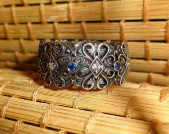 """Arm Root Handmade Silver Ring """"Collection Arm Root"""" . Armenian Jewelry, Armenian Silver, Armenian  Ring,  Ring Zircon  Blue , White"""
