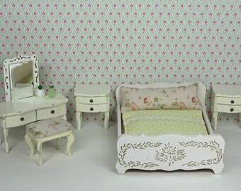 Doll house vintage Lundby bedroom 1960 1970s furniture Parisian vintage