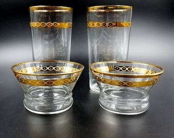 Libbey Glass Victoria Pattern Unit P Iced Tea Glasses and Sorbets