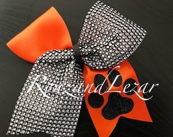 Black, Silver and Orange Paw print Cheer Bow-black and Orange cheer bow- Paw Print Cheer Bow-Rhinestones Cheer Bow