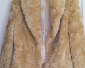 Vintage Lillie Rubin Cream color Faux Fur Jacket size small