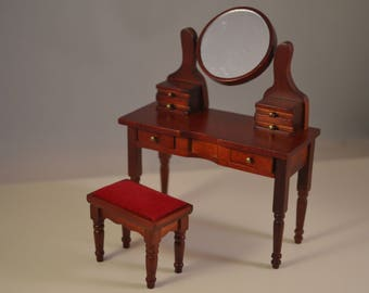 Dollhouse desk mirror 1/12 ,miniature, wooden,with chair