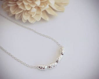 Minimal Sterling silver necklace, hammered silver beads, symbolic gift for mum, grandma, wife, family of four, love, Mothers Day gift