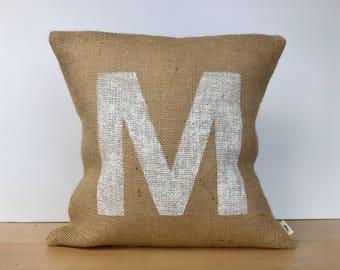 Custom monogram pillow, monogram pillow cover, monogram pillow, hand painted monogram pillow cover, housewarming gift, throw pillow