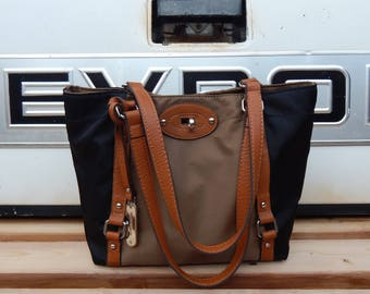 Vintage Franco Sarto black nylon and whiskey brown leather tote shoulder bag, lightweight tote