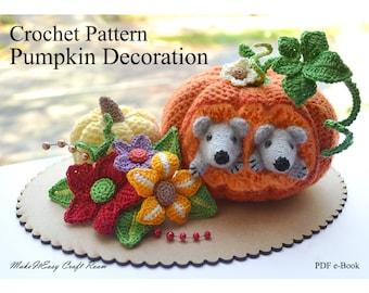 Pumpkin and mice crochet pattern Crochet pumpkins Modern farmhouse pumpkin decor Crochet gourds Thanksgiving table decor Digital download