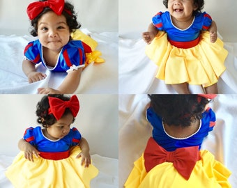 One Piece Baby, Girl's dress, SNOW WHITE  costume birthday outfit inspired dress with a matching headband Included!