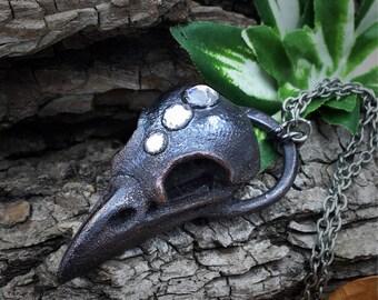 Raven Skull Necklace | Electroformed | Crow Skull Necklace | Bird Skull | Swarovski Crystals